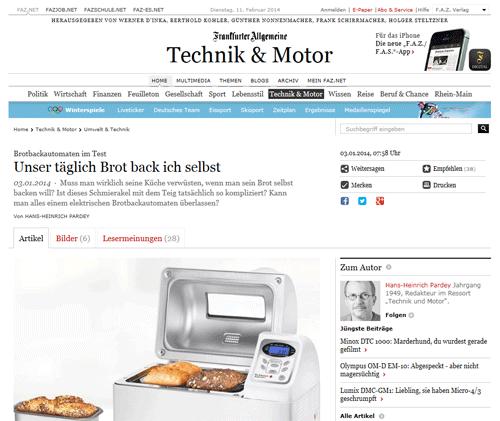 FAZ Brotbackautomat Test Artikel
